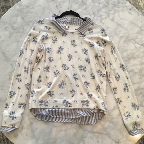 Joie Tops - Blue and cream floral shirt and sweater.